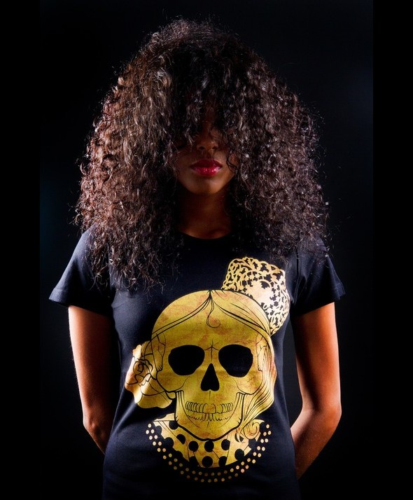 Golden Flamenco Skull Kusama Tshirt