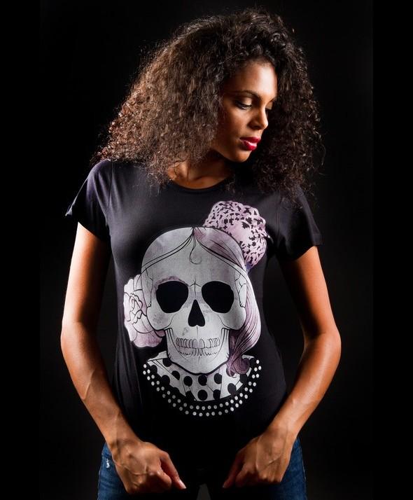 White Flamenco Skull Kusama Tshirt